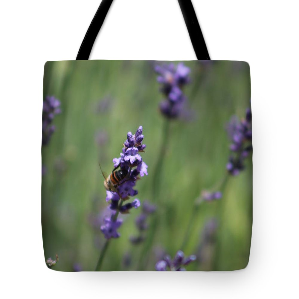 Deep Purple Lavender Tote Bag featuring the photograph Bee on Deep Purple Lavender Spike by Colleen Cornelius