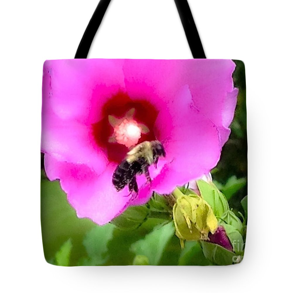 Photograph Tote Bag featuring the photograph Bee On Edge Of A Hibiscus Flower by Debra Lynch