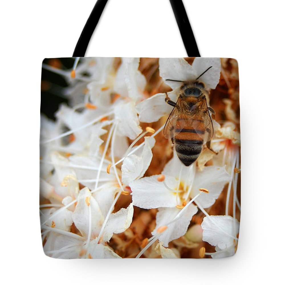 Flower Tote Bag featuring the photograph Bee On Flowers 2 by Amy Fose