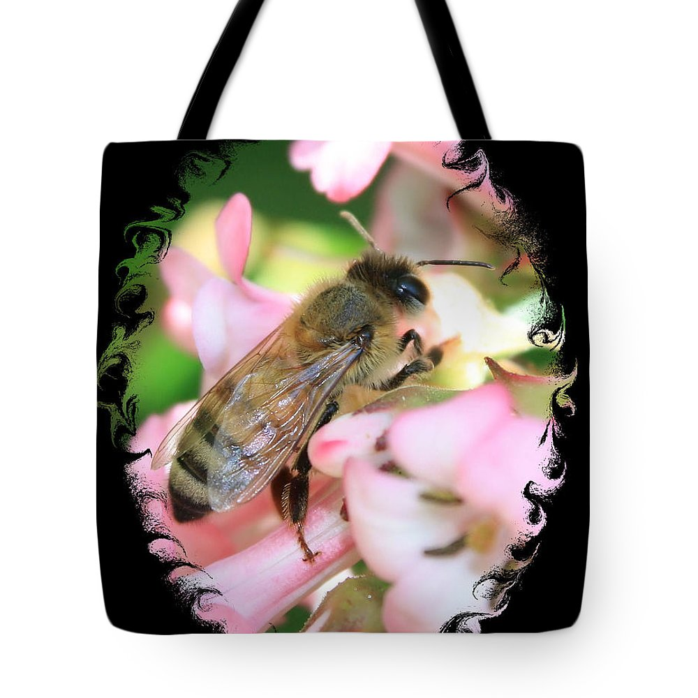 Bee Tote Bag featuring the photograph Bee On Pink Flower With Swirly Framing by Carol Groenen