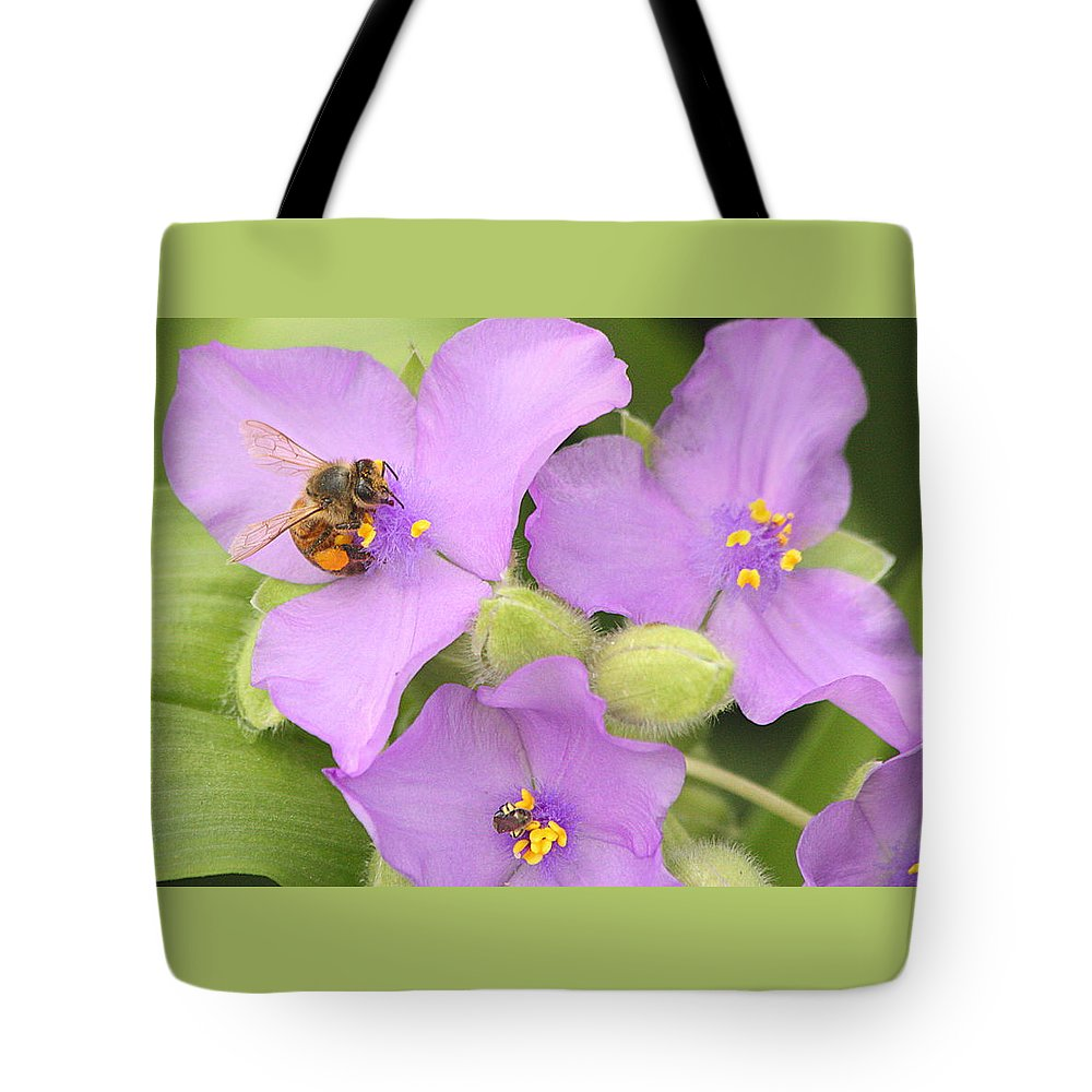 Nature Tote Bag featuring the photograph Bee On Purple Spiderwort by Sheila Brown