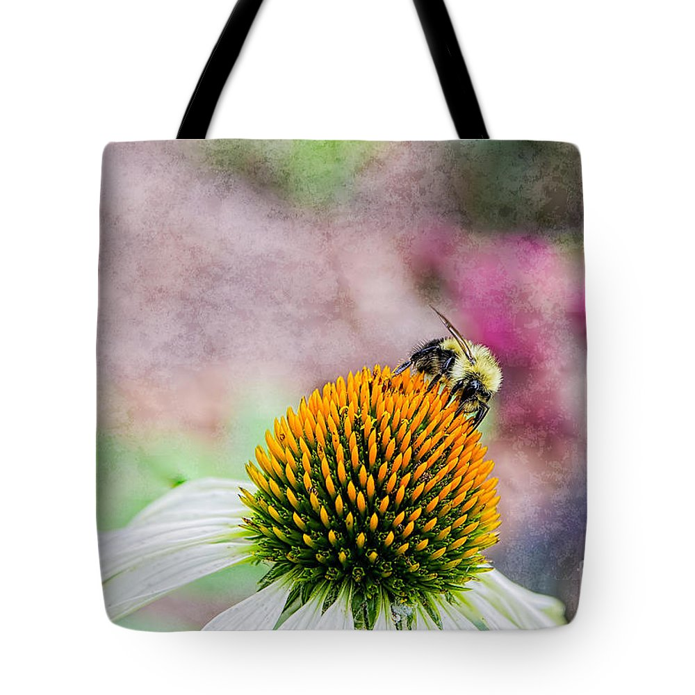 Bee Tote Bag featuring the photograph Bee On Yellow Coneflower by Nikki Vig