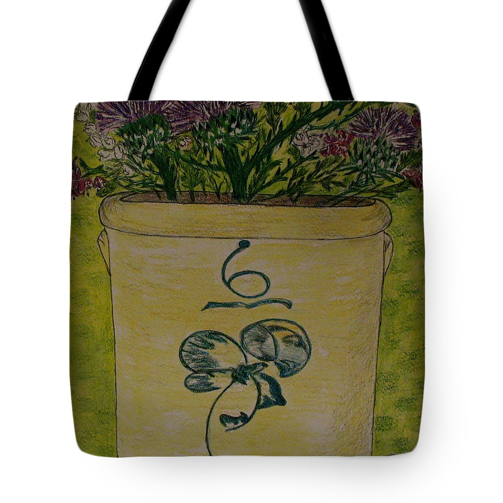 Bee Sting Crock Tote Bag featuring the painting Bee Sting Crock With Good Luck Bow Heather And Thistles by Kathy Marrs Chandler