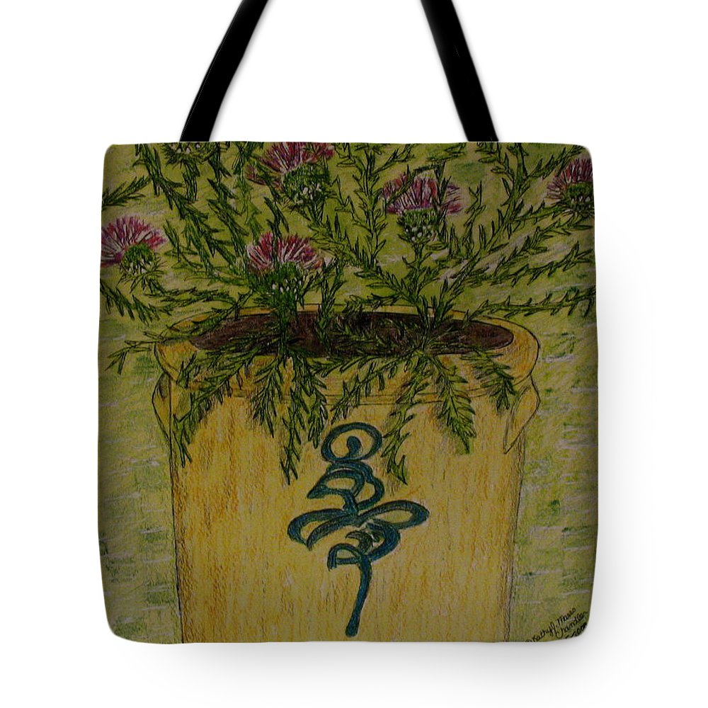 Vintage Tote Bag featuring the painting Bee Sting Crock With Good Luck Horseshoe by Kathy Marrs Chandler