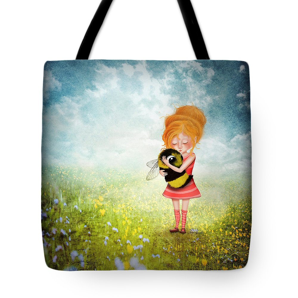 Bee Tote Bag featuring the digital art Bee Whisperer by Laura Ostrowski