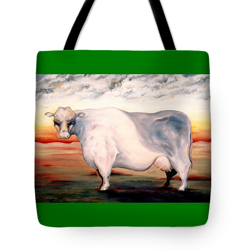 Cow Tote Bag featuring the painting Beef Holocaust II by Mark Cawood
