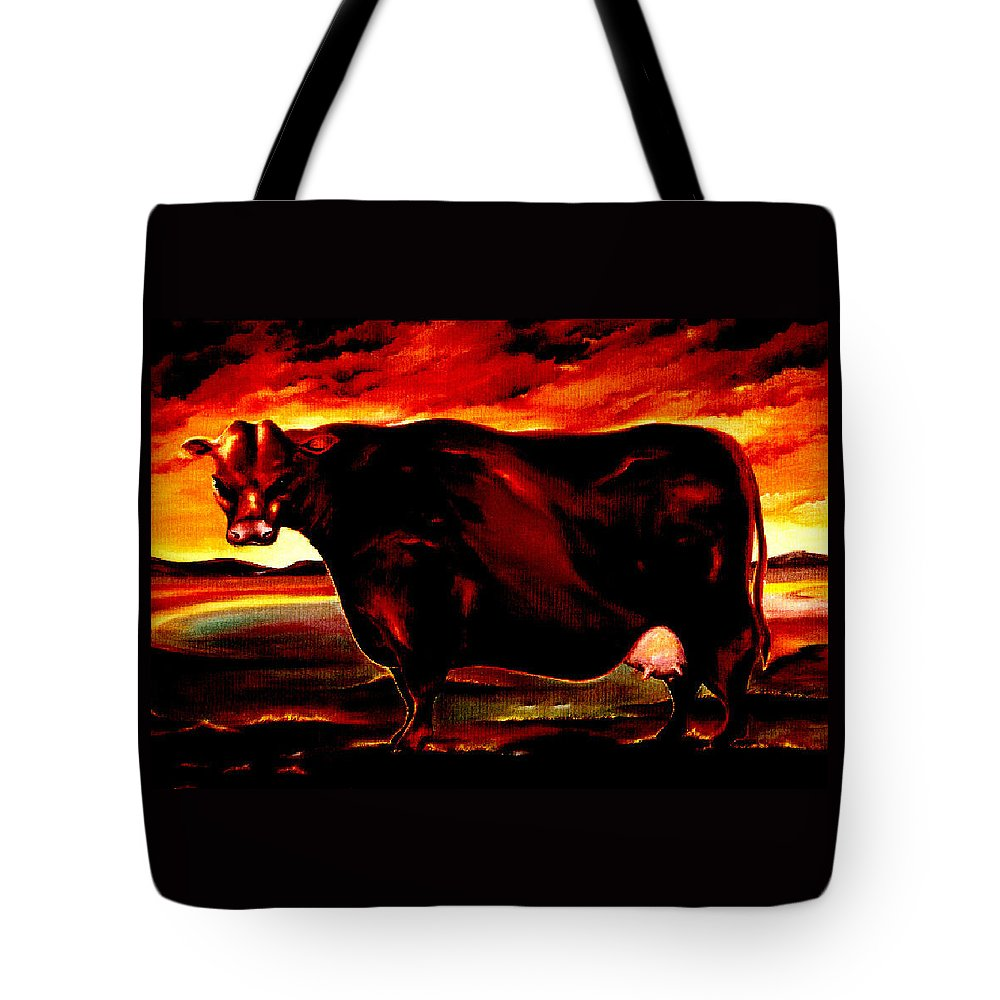 Farm Animal Tote Bag featuring the painting Beef Holocaust IIi by Mark Cawood