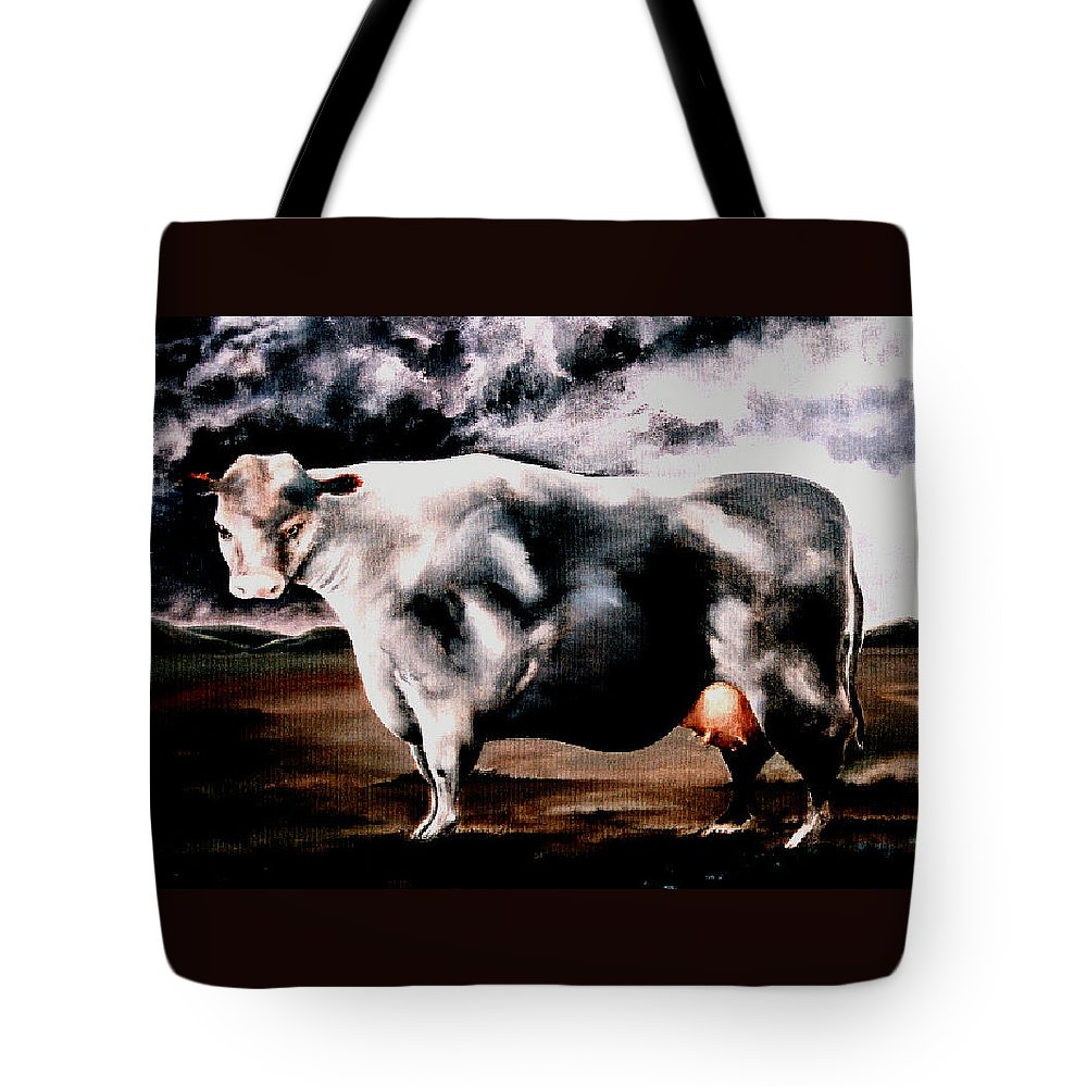 Cow Tote Bag featuring the painting Beef Holocaust Iv by Mark Cawood