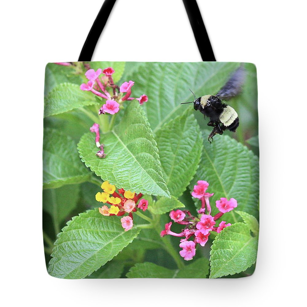 Bee Tote Bag featuring the photograph Beeing Amongst The Flowers by Carol Groenen