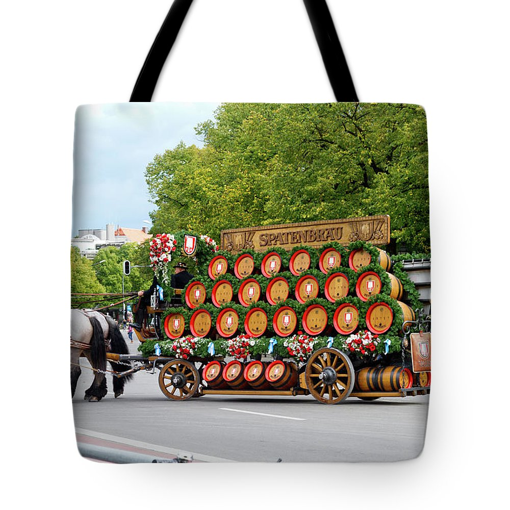Beer Tote Bag featuring the photograph Beer Barrels On Cart by Bernard Barcos