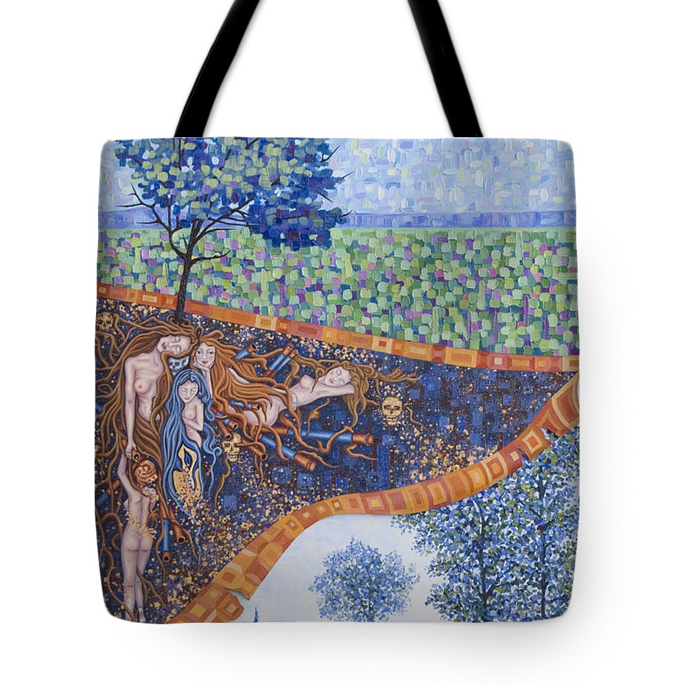 Canvas Tote Bag featuring the painting Behind The Canvas by Judy Henninger