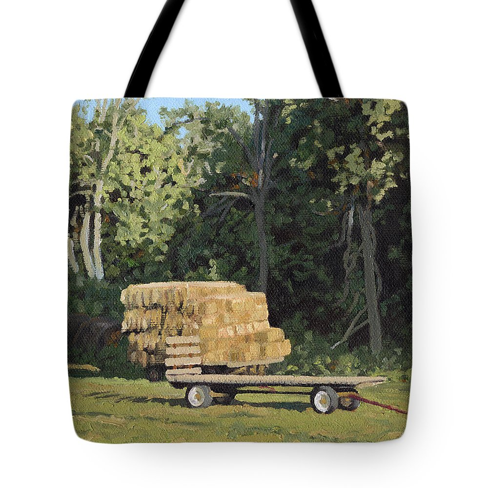 Landscape Tote Bag featuring the painting Behind The Grove by Bruce Morrison