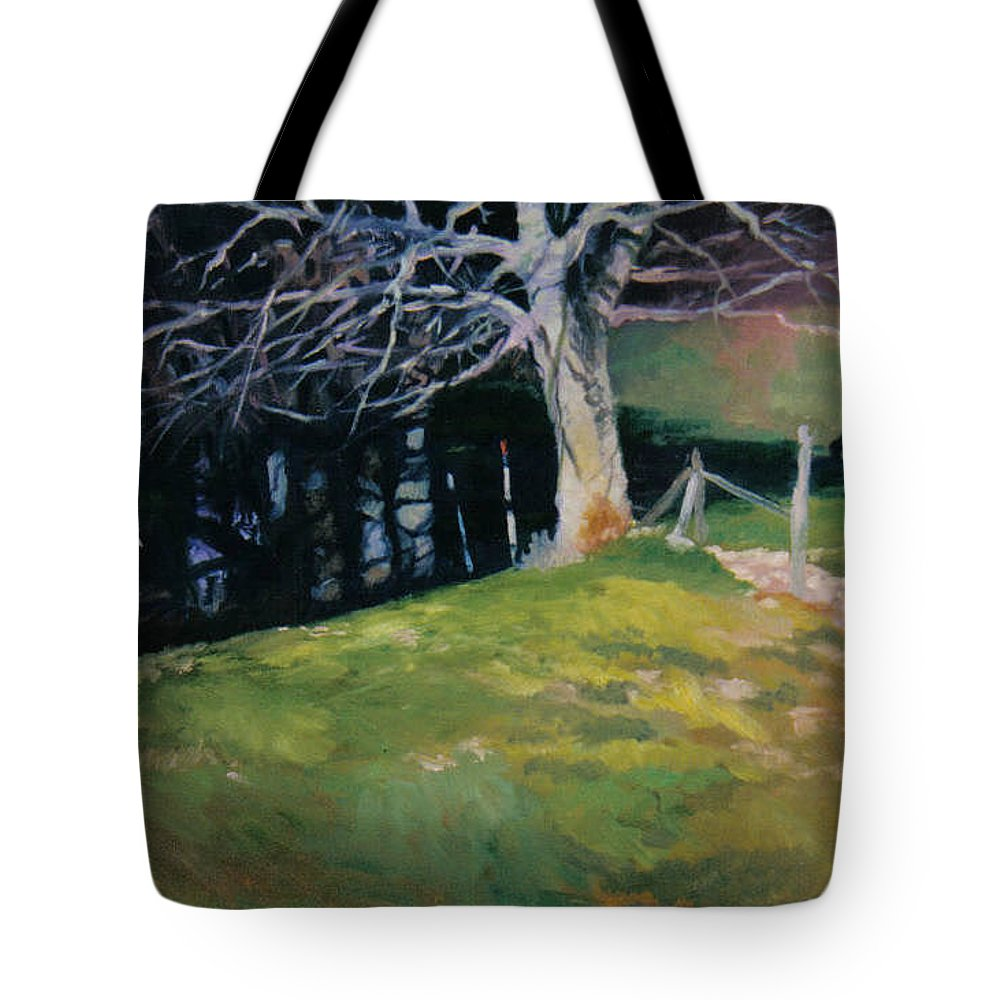 Landscape Tote Bag featuring the painting Behind The Leve by John L Campbell