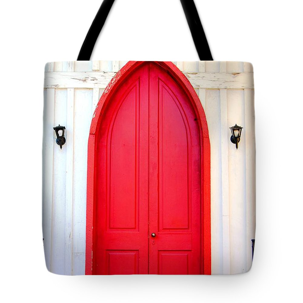 'door Tote Bag featuring the photograph Behind The Red Door by Donna Bentley