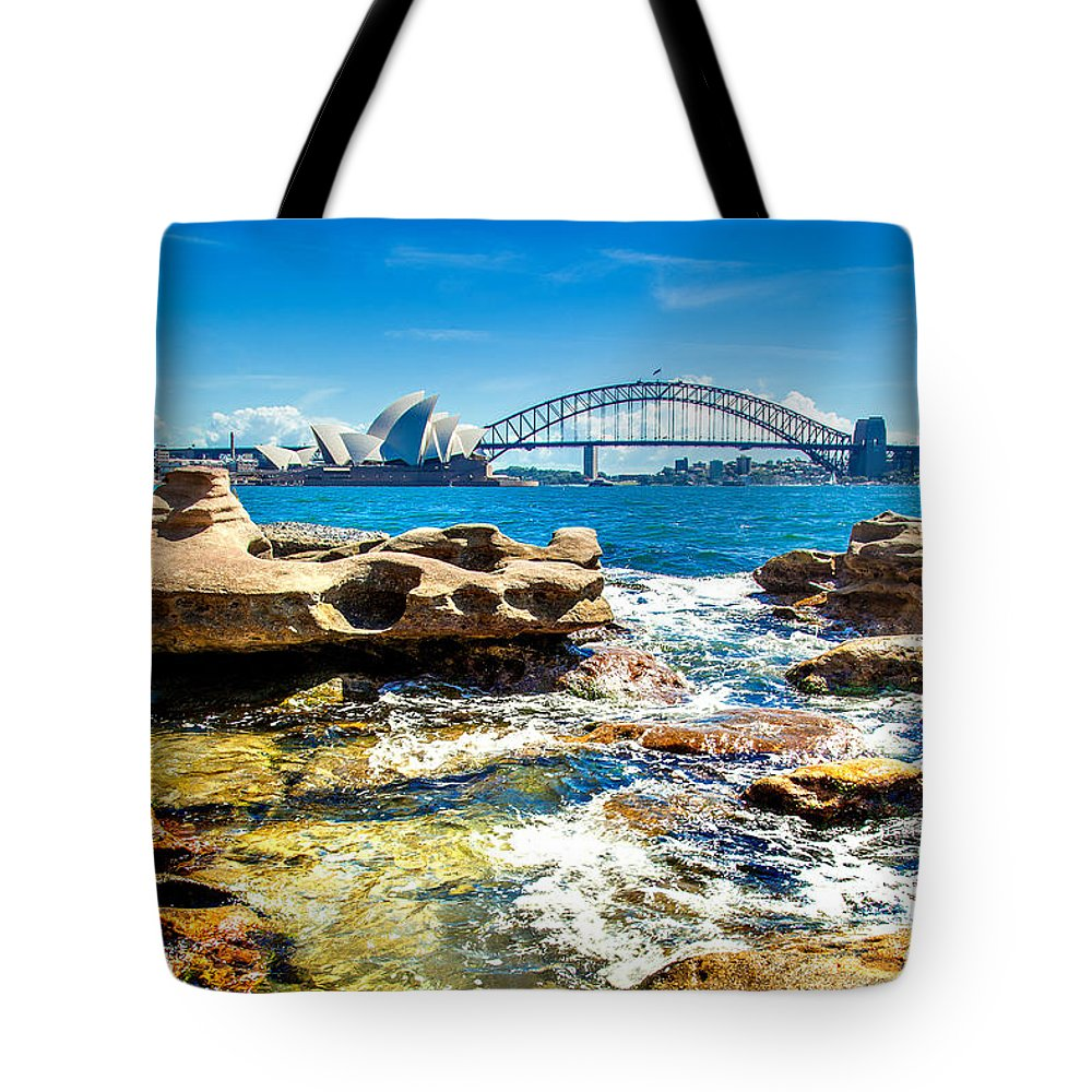 Sydney Tote Bag featuring the photograph Behind The Rocks by Az Jackson