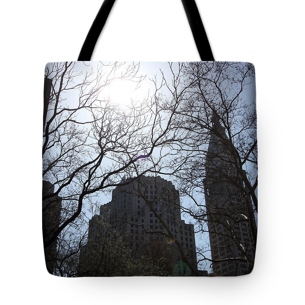 Landscape Tote Bag featuring the photograph Behind The Trees 1 by Mary Haber