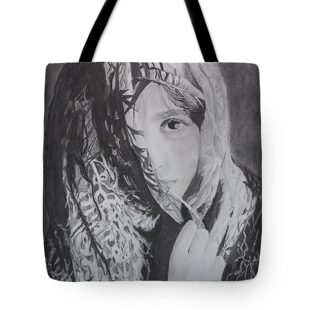 Graphite Tote Bag featuring the drawing Behind The Veil by Quwatha Valentine