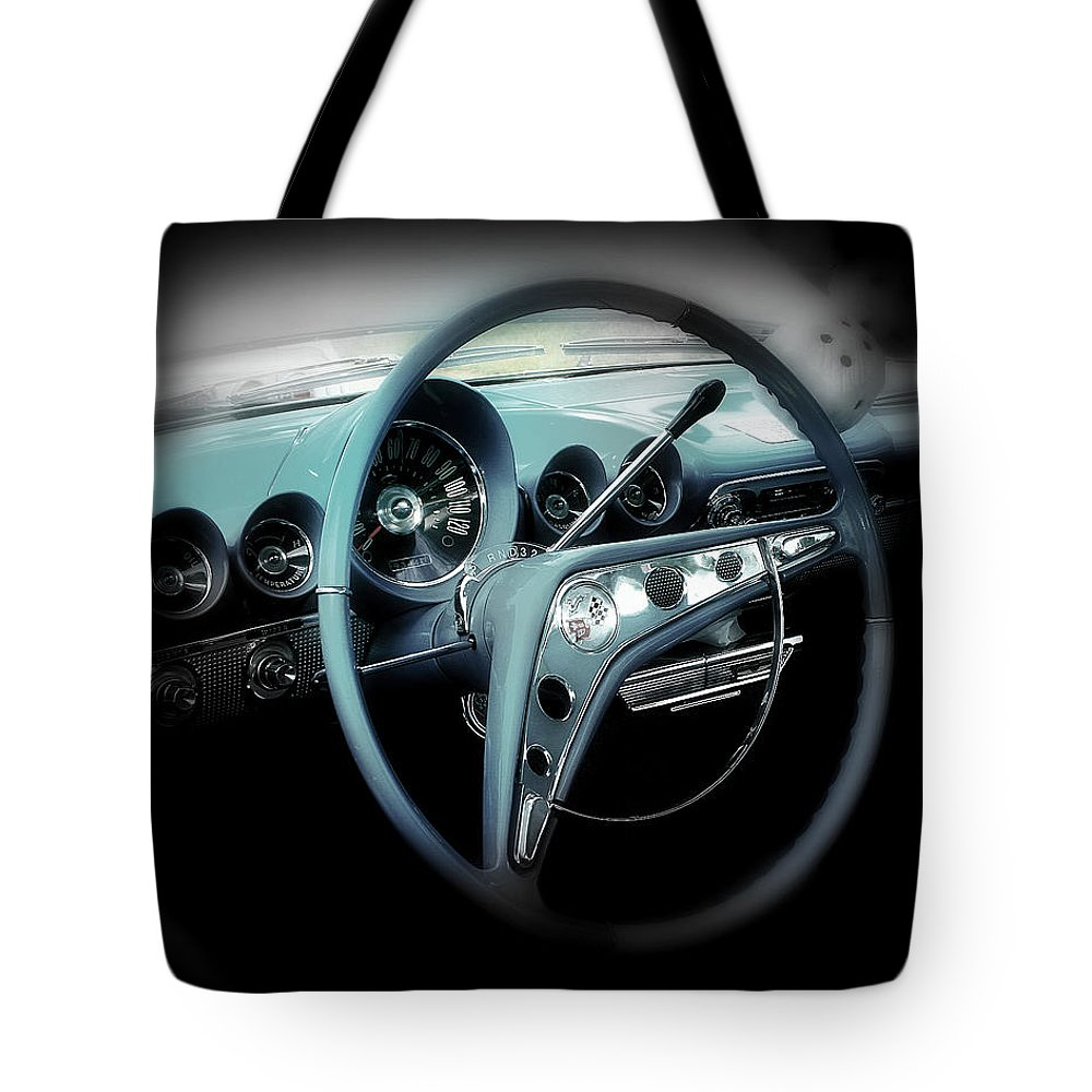 Car Tote Bag featuring the photograph Behind The Wheel by Perry Webster