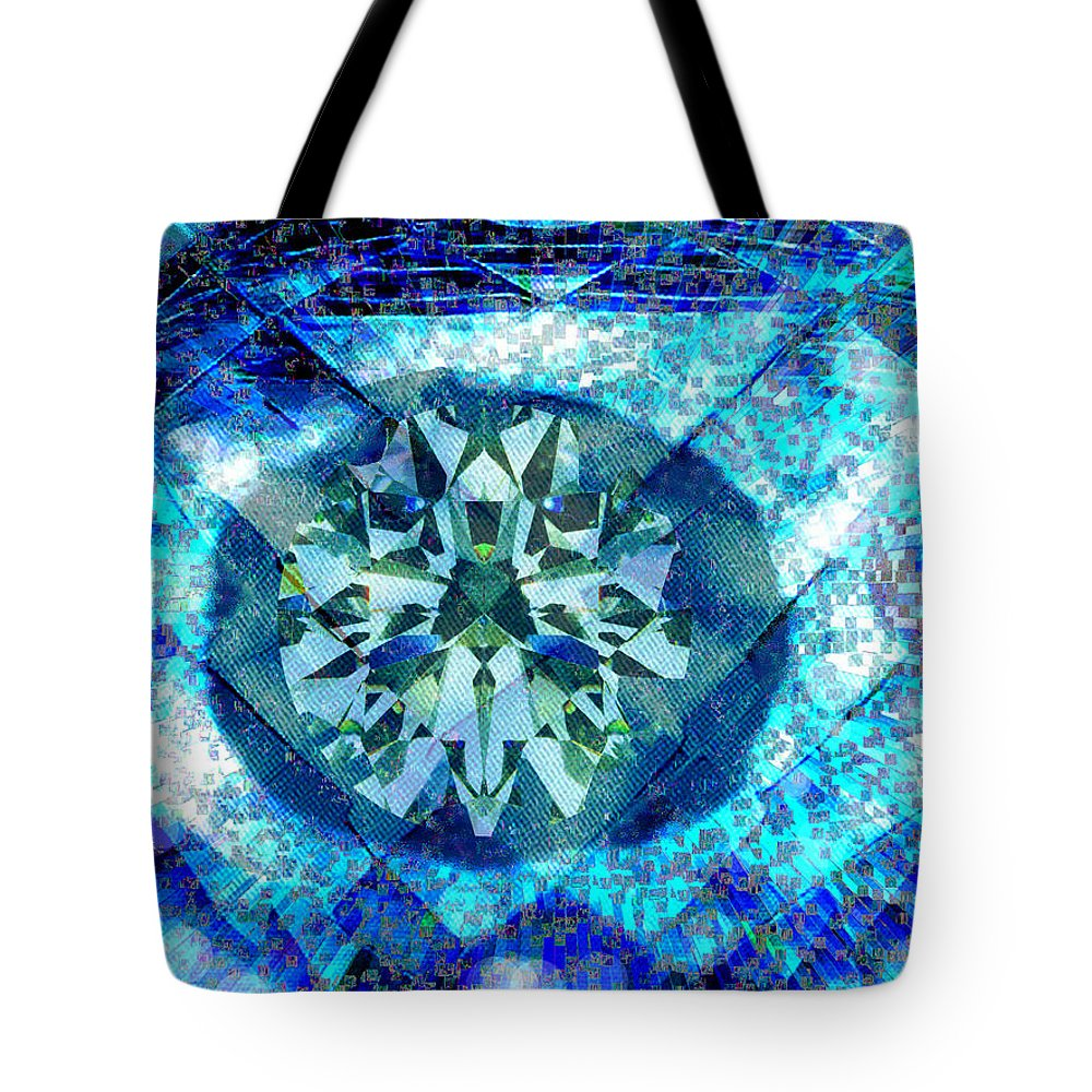 Abstract Tote Bag featuring the digital art Behold The Jeweled Eye by Seth Weaver