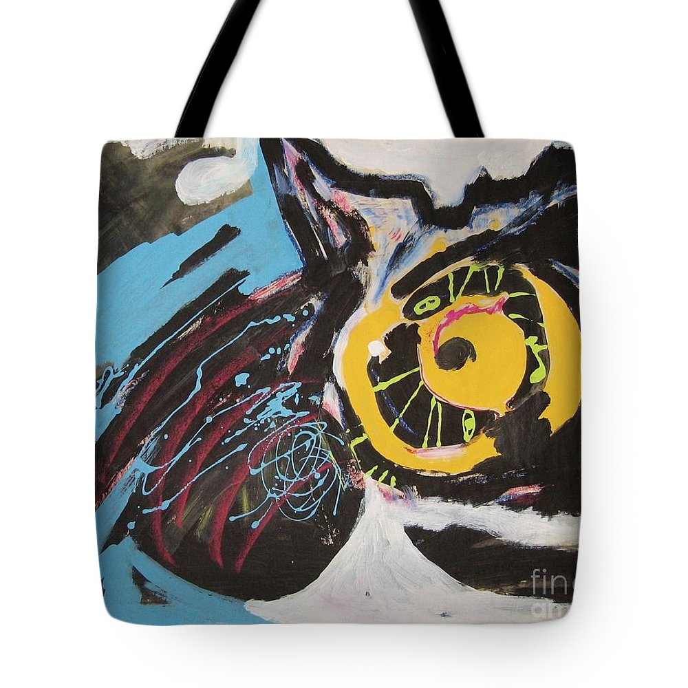 Abstract Cat Paintings Tote Bag featuring the painting Being Lazy by Seon-Jeong Kim