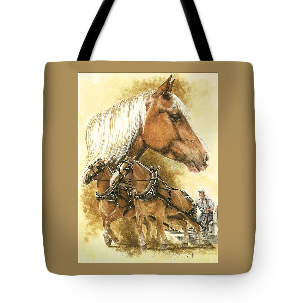 Equus Tote Bag featuring the mixed media Belgian by Barbara Keith