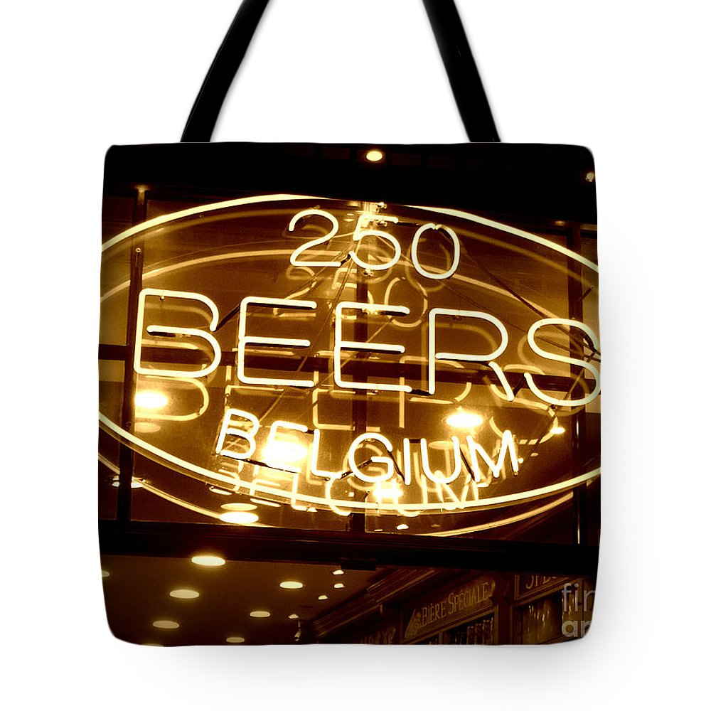 Home Bar Tote Bag featuring the photograph Belgian Beer Sign by Carol Groenen