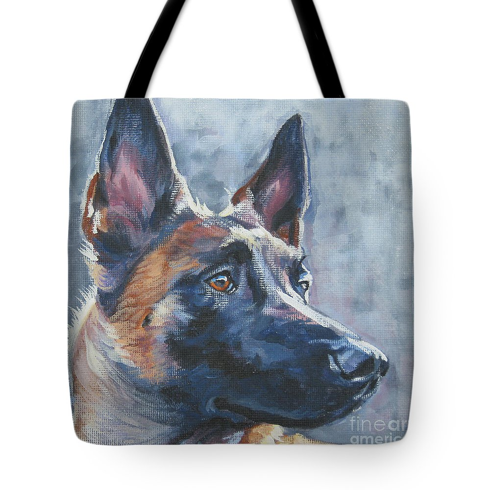 Belgian Malinois Tote Bag featuring the painting Belgian Malinois In Winter by Lee Ann Shepard