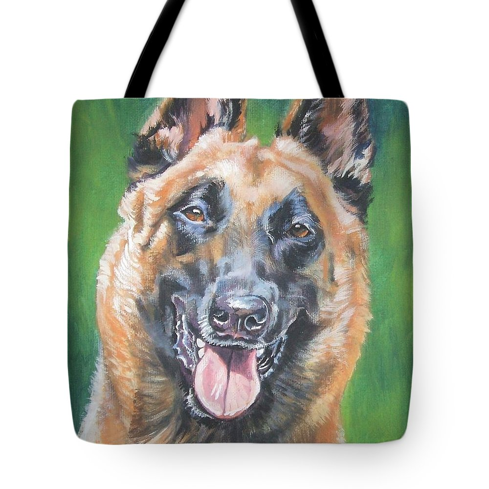 Belgian Malinois Tote Bag featuring the painting Belgian Malinois Smile by Lee Ann Shepard