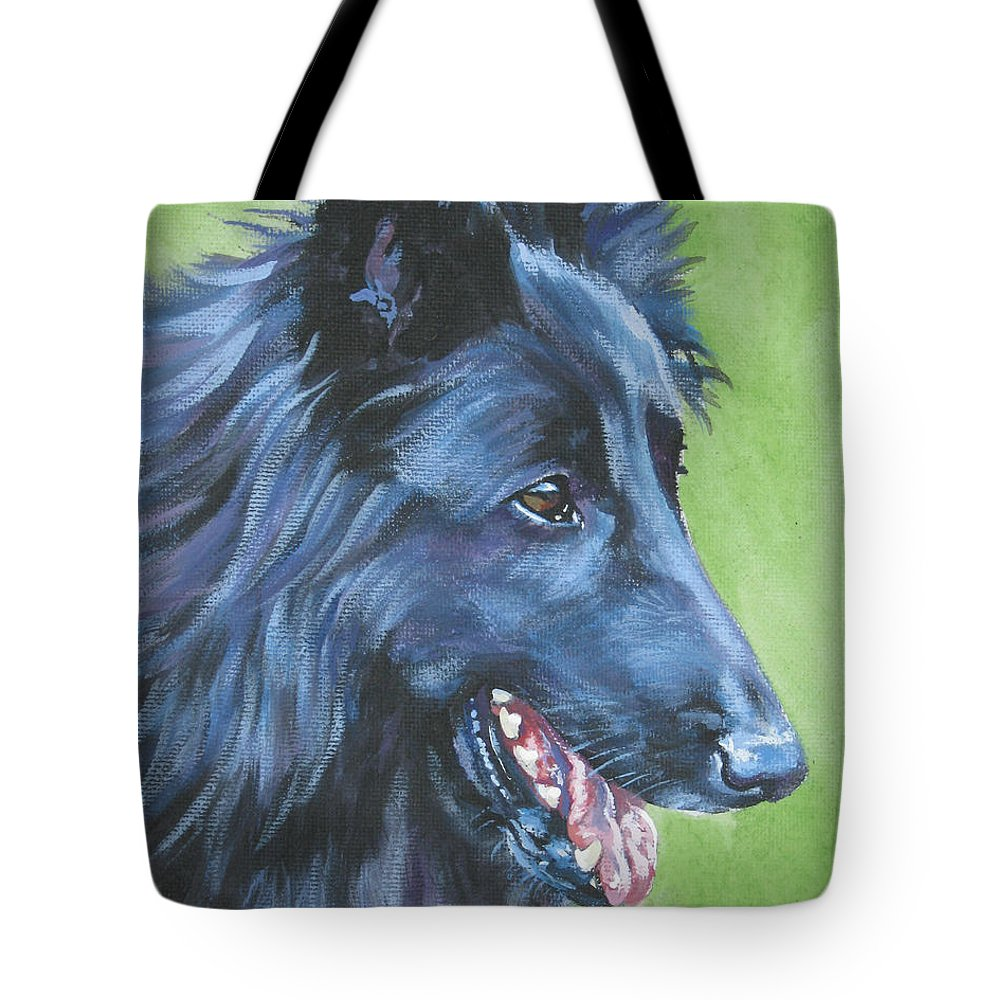 Belgian Sheepdog Tote Bag featuring the painting Belgian Sheepdog by Lee Ann Shepard