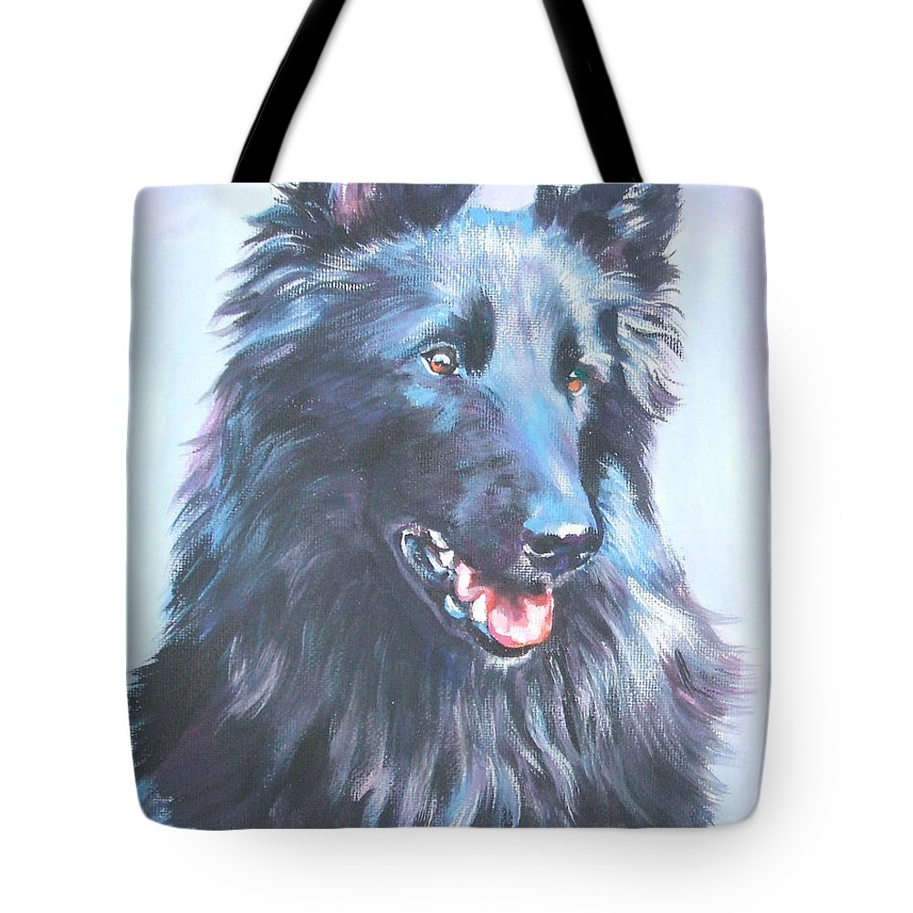 Belgian Sheepdog Tote Bag featuring the painting Belgian Sheepdog Portrait by Lee Ann Shepard