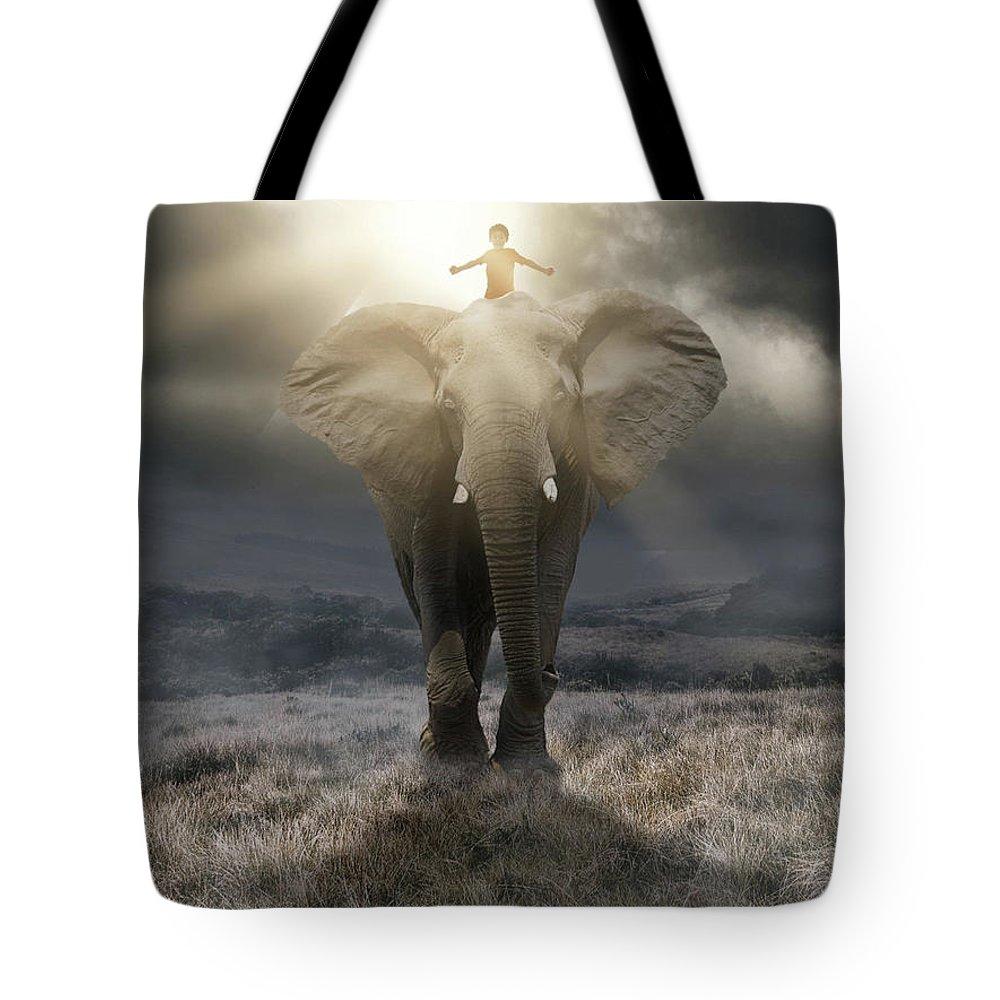 Elephant Tote Bag featuring the digital art ..believe.. by Sandevil Sandhya