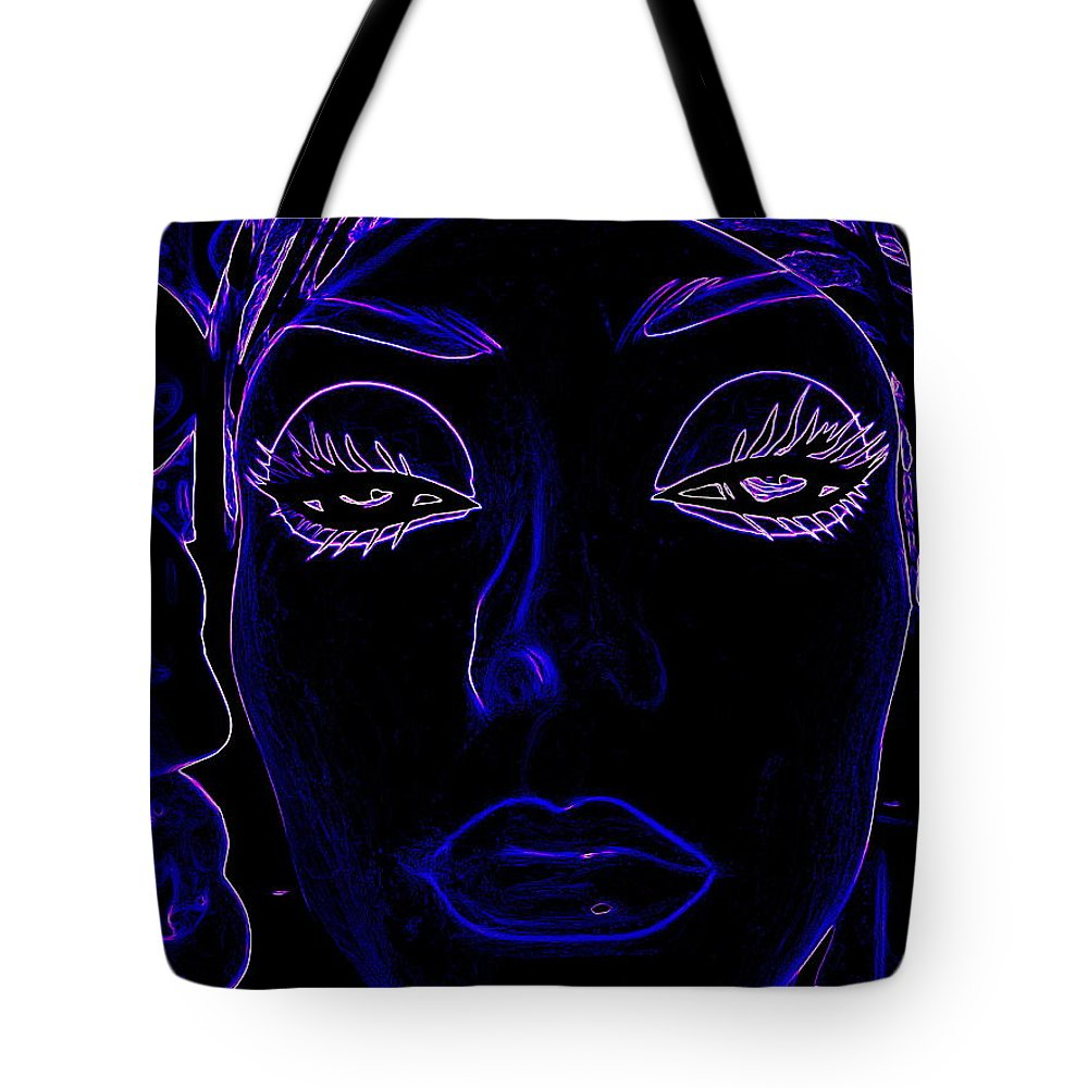 Abstract Tote Bag featuring the digital art Belinda In Blue by Ed Weidman