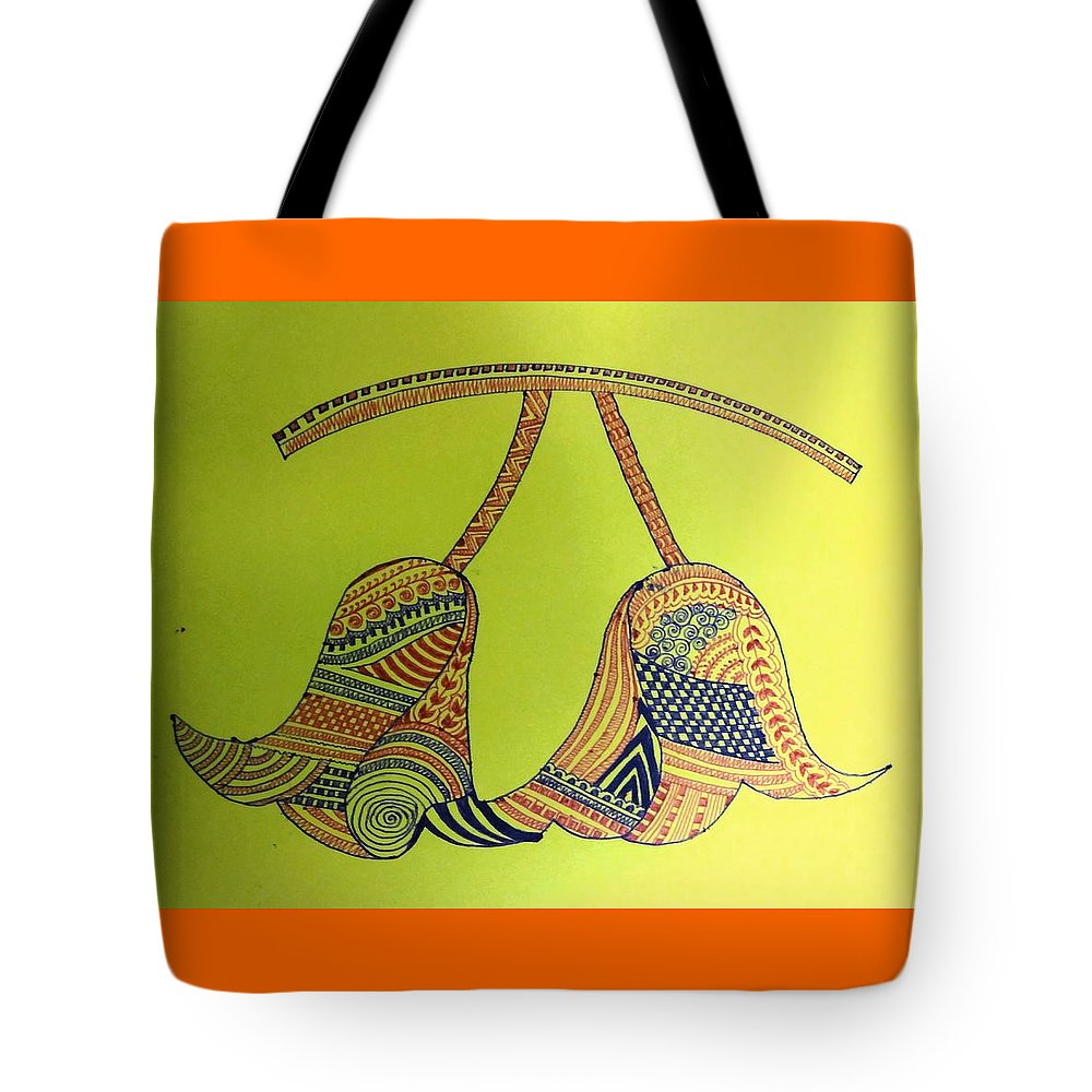 Tote Bag featuring the drawing Bell by Richa Ahuja