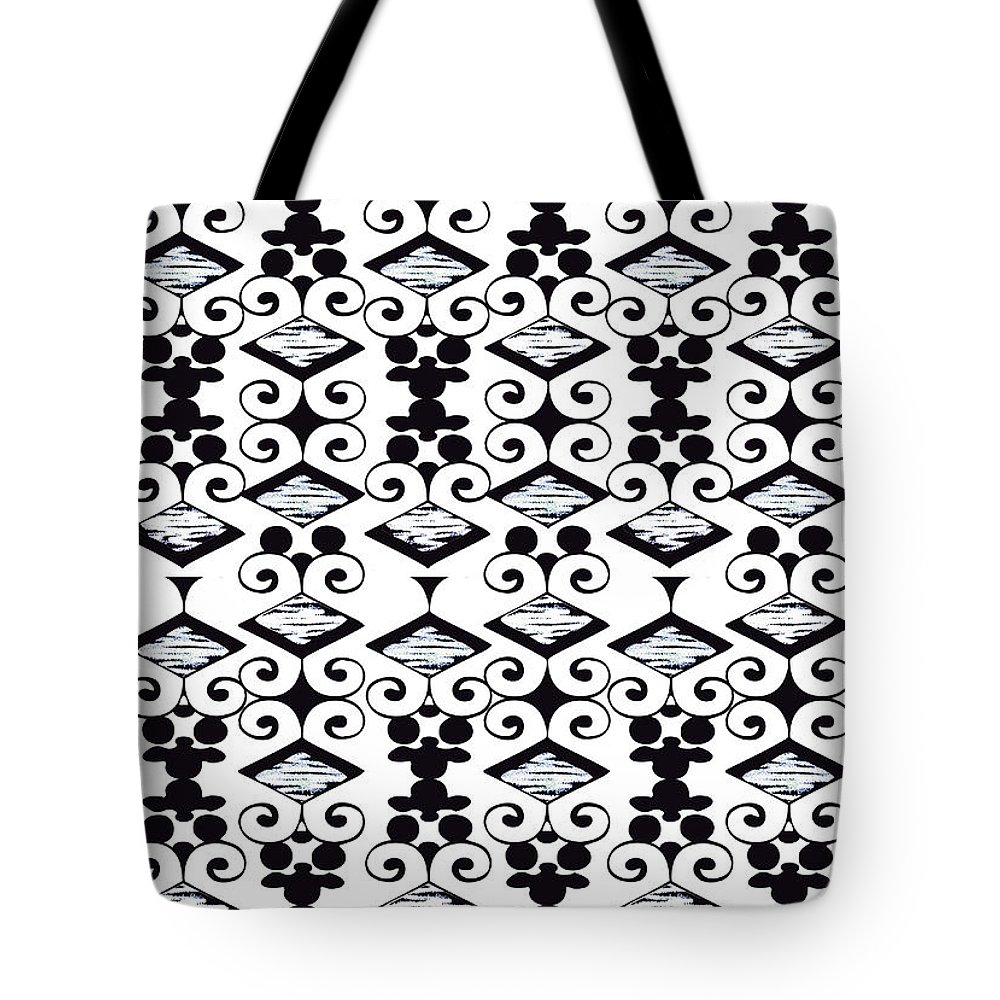 Black And White Tote Bag featuring the digital art Bella 6 by Ceil Diskin