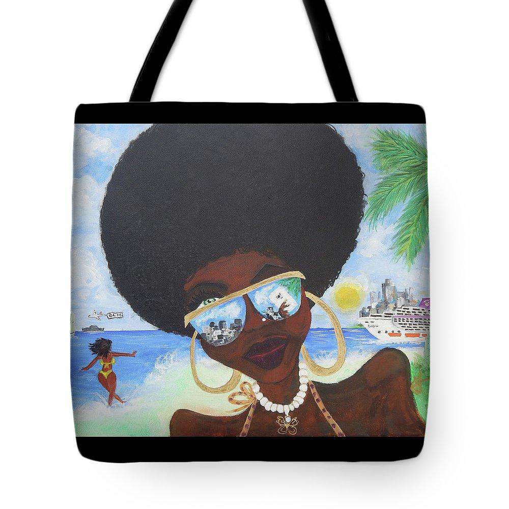 Miami Tote Bag featuring the painting Bella En Miami - Blm by Jorge Delara