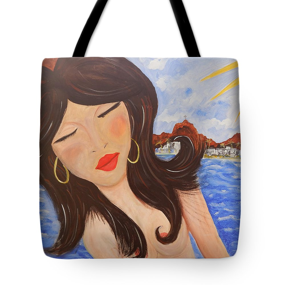 Woman Tote Bag featuring the painting Bella en Rio by Jorge Delara