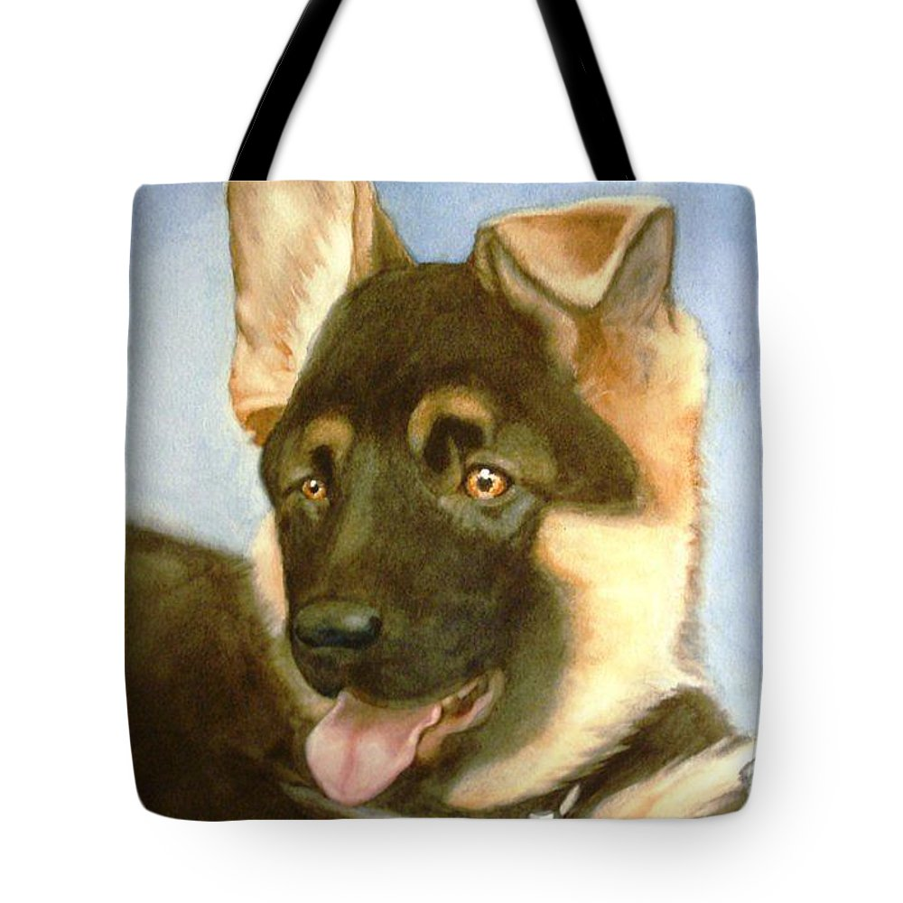 German Shepherd Puppy Tote Bag featuring the painting Bella by Marilyn Jacobson