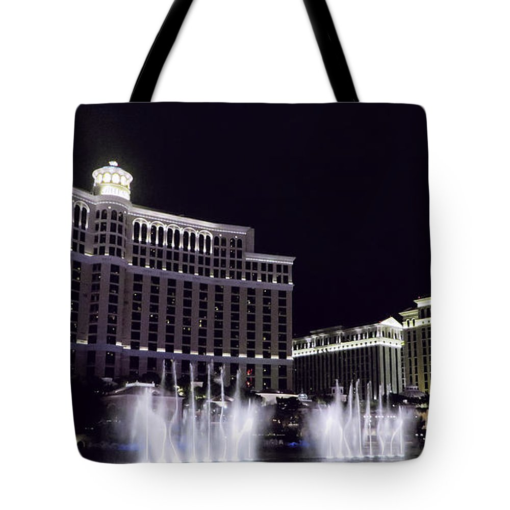 Vegas Photography Tote Bag featuring the photograph Bellagio And Caesars Palace by Kathleen Sartoris