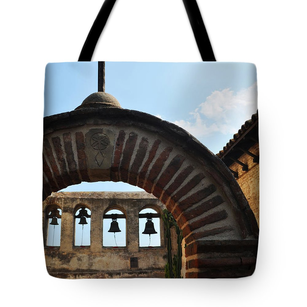 Mission San Juan Capistrano Tote Bag featuring the photograph Bells Of Mission San Juan Capistrano by Kyle Hanson