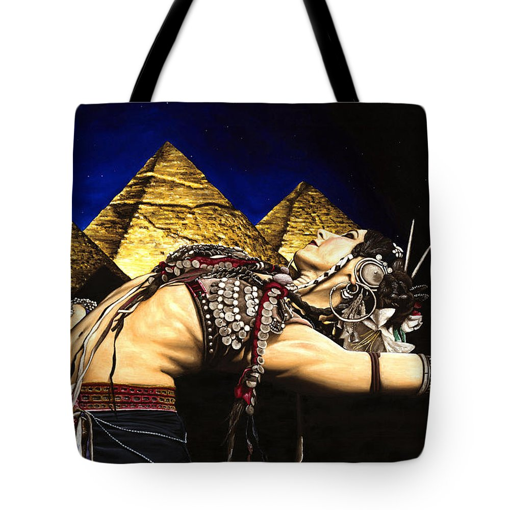 Bellydance Tote Bag featuring the painting Bellydance Of The Pyramids - Rachel Brice by Richard Young