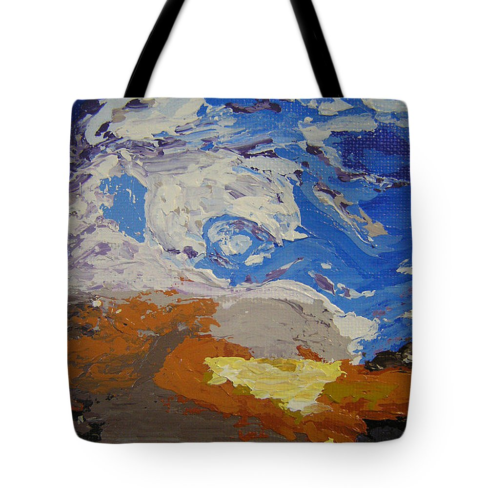 Sunset Tote Bag featuring the painting Belonging by Ricklene Wren