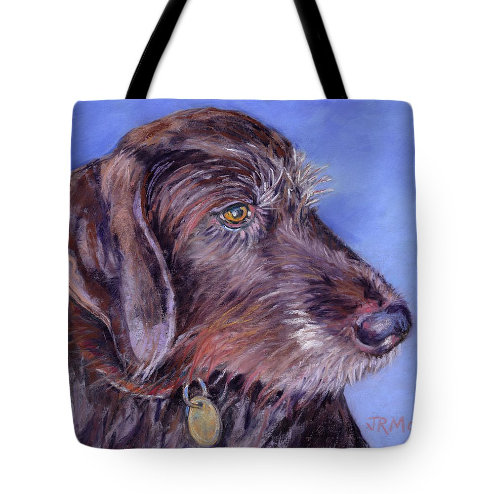 Canine Pet Portrait Tote Bag featuring the painting Beloved Gina by Julie Maas