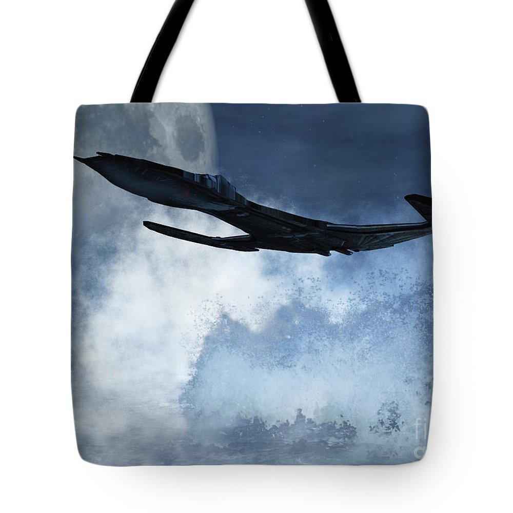 Flight Tote Bag featuring the digital art Below Radar by Richard Rizzo