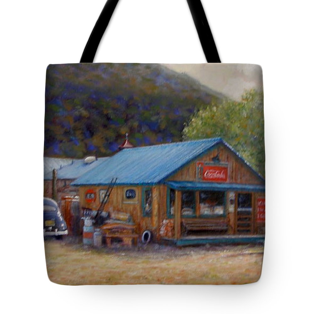 Realism Tote Bag featuring the painting Below Taos 2 by Donelli DiMaria