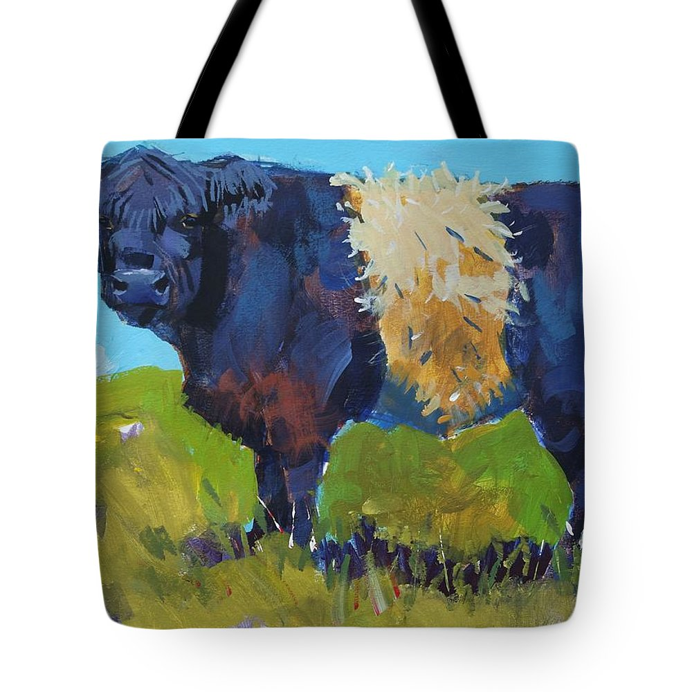 Belted Galloway Cow Tote Bag featuring the painting Belted Galloway Cow - The Blue Beltie by Mike Jory