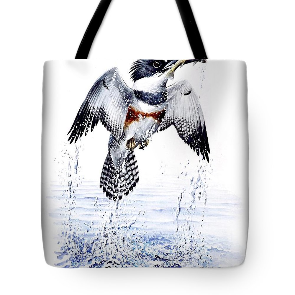 Chris Cox Tote Bag featuring the painting Belted Kingfisher by Christopher Cox