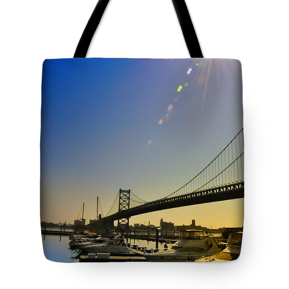 Philadelphia Tote Bag featuring the photograph Ben Franklin Bridge From The Marina by Bill Cannon