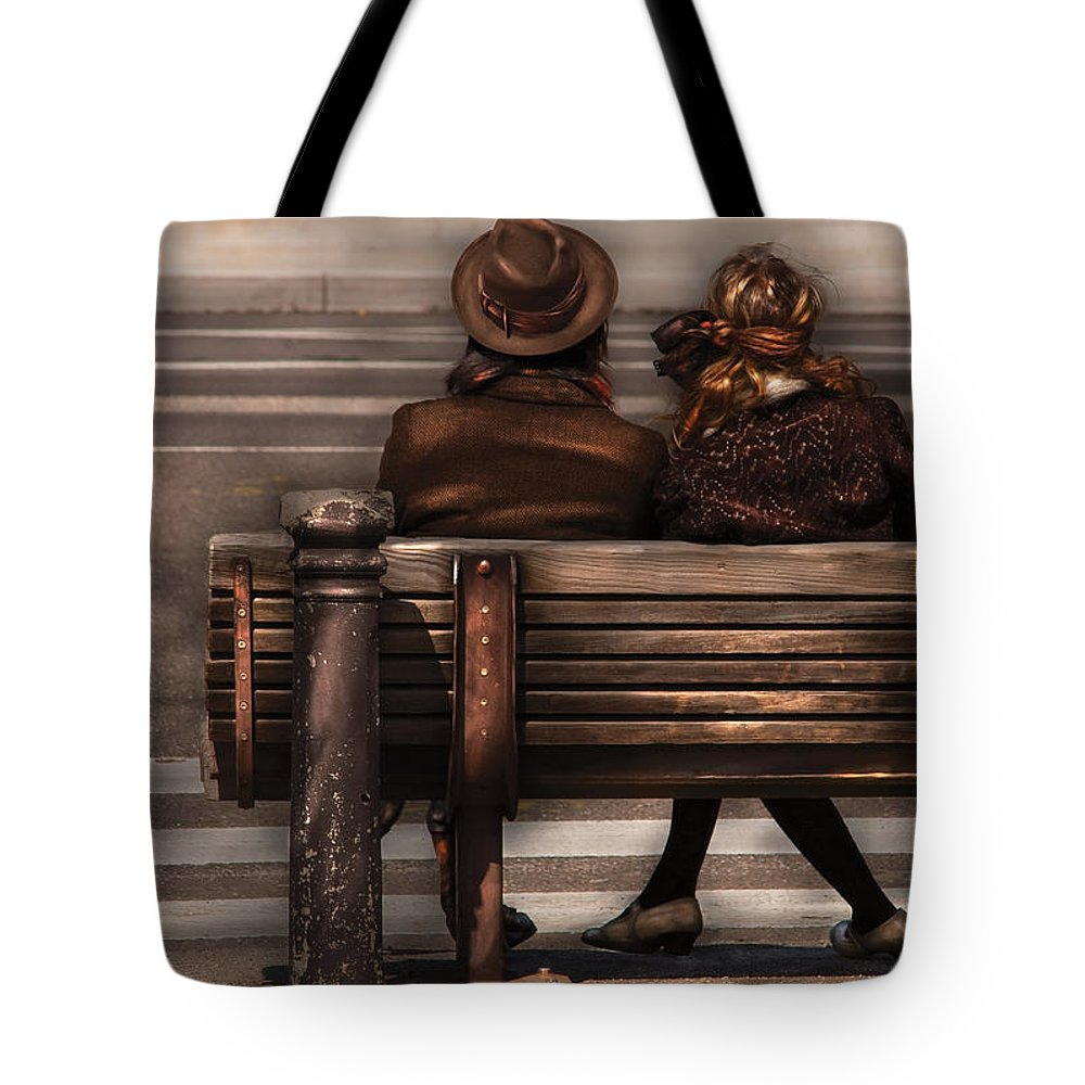 Steampunk Tote Bag featuring the photograph Bench - A Couple Out Of Time by Mike Savad