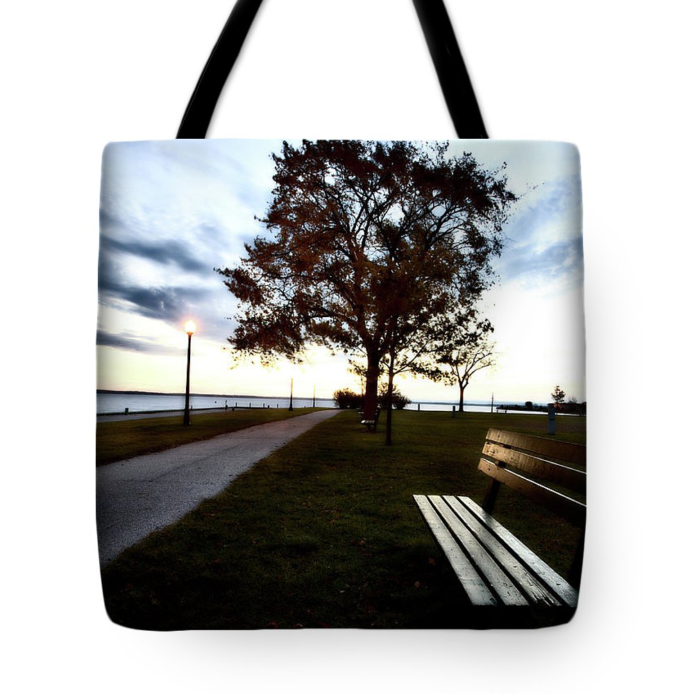 Bench Tote Bag featuring the digital art Bench And Street Light by Mark Duffy