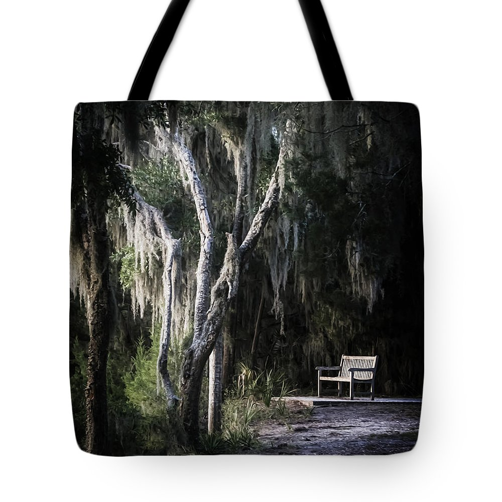 Bench Tote Bag featuring the photograph Bench At Sunset by Chrystal Mimbs